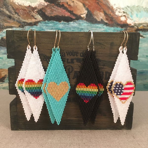 Rainbow Gold Duster Long Earrings beaded by the Beach American Flag Heart Gold sparkling Beads artisan handmade in USA lightweight beach resort party prom wedding special occasion Pride