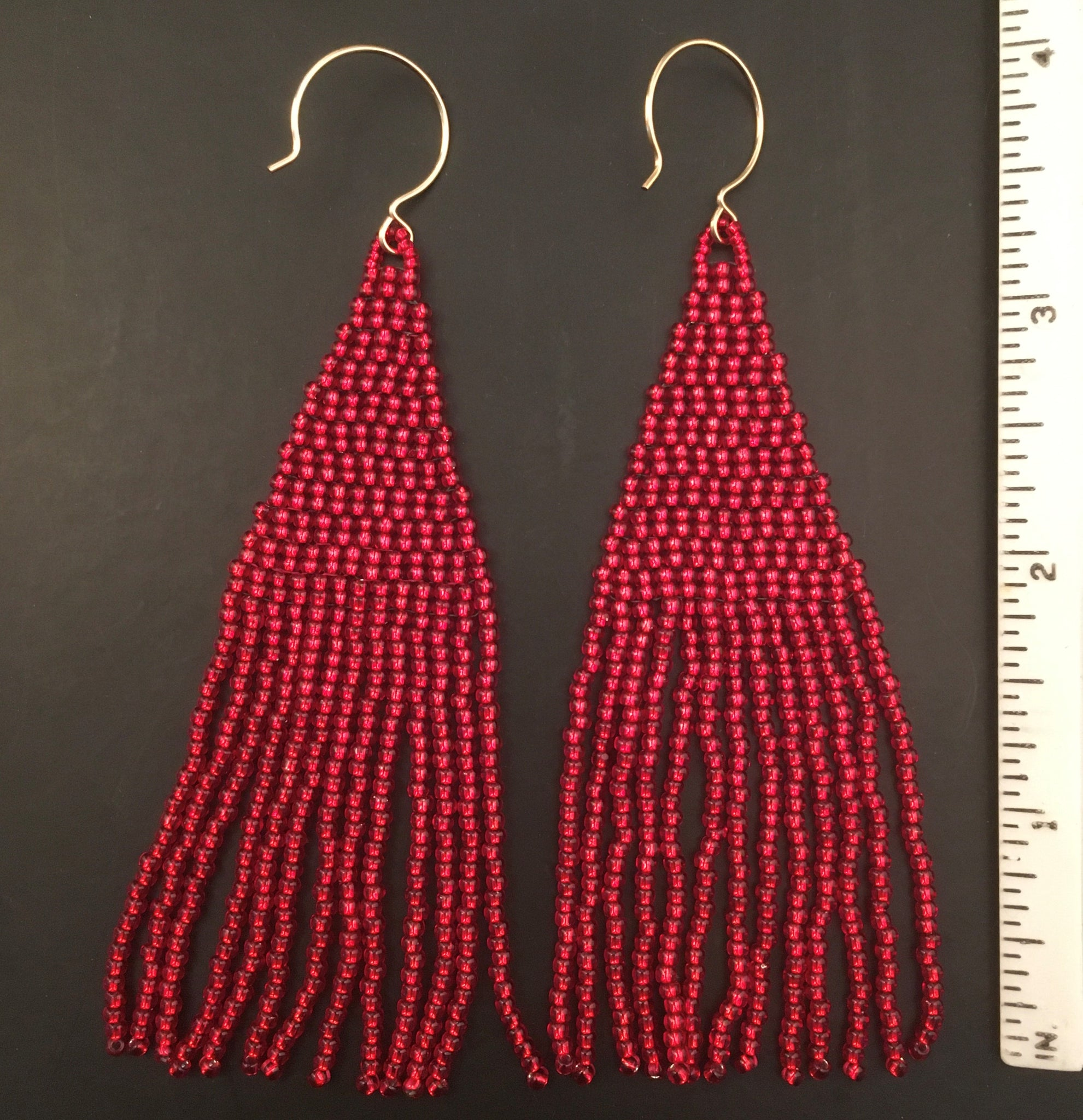 Duster Length Beaded Tassel Fringe Earrings in Ruby Red