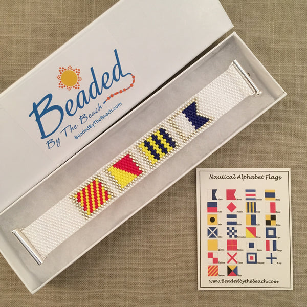Nautical Alphabet Signal Flag Bracelet YOGA handmade beaded peyote custom name