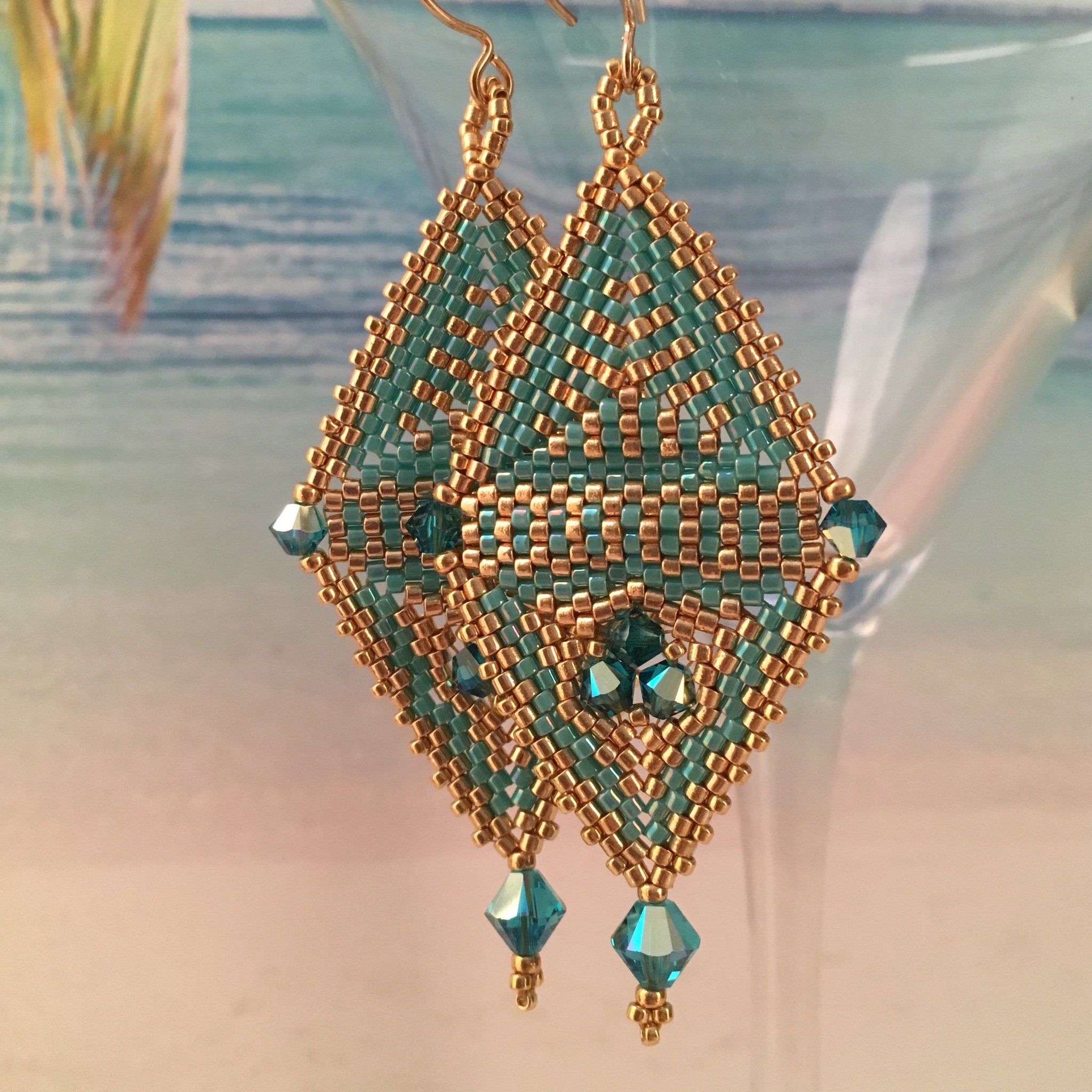 Modern contemporary geometric earrings with 12 Swarovski crystals Beaded By The Beach Gold Turquoise custom
