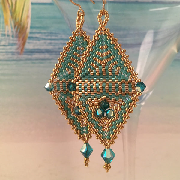 Long Contemporary Diamond Shaped Turquoise and Gold Earrings with Swarovski™ Crystals