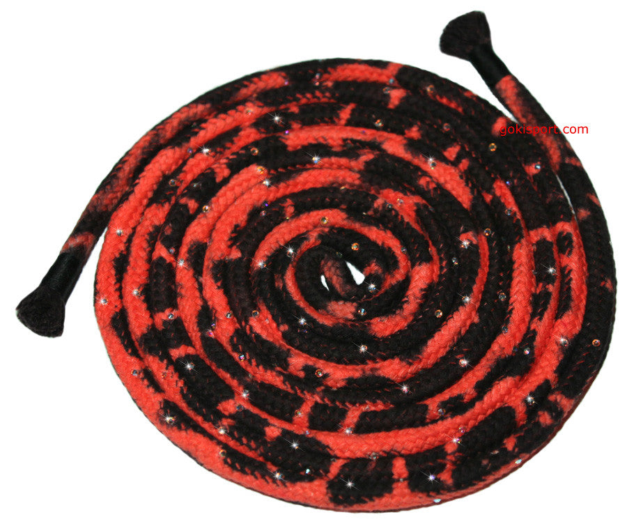 GOKISPORT Cotton Multicolor Ropes made with SWAROVSKI CRYSTALS, Red-Black, Style: GS345
