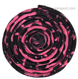 GOKISPORT Cotton Multicolor Ropes made with SWAROVSKI CRYSTALS, Pink-Black, Style: GS338