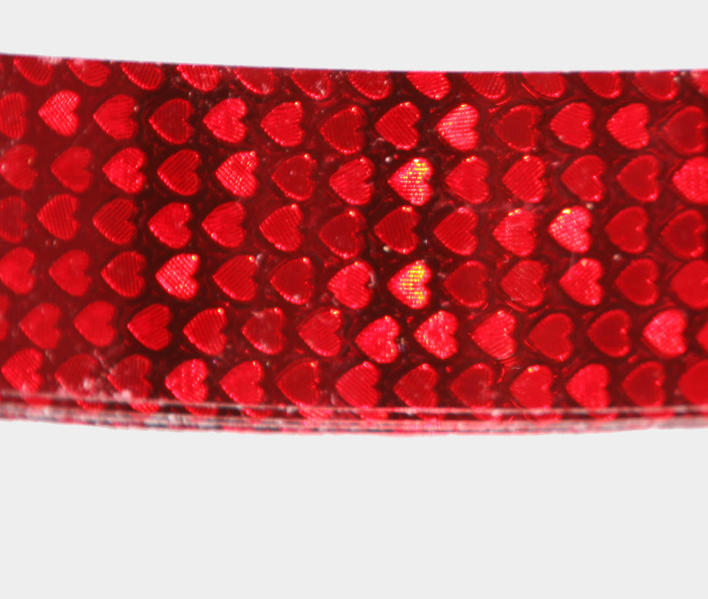 PRIMA HOOP wrapped with 1-color Shimmer Pattern Red Hearts tape, Style: GS313SPRH