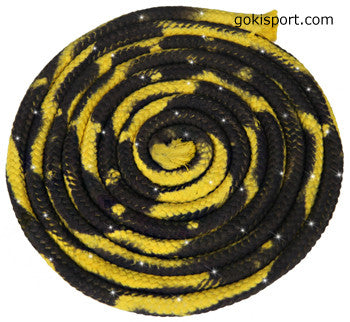 GOKISPORT Cotton Multicolor Ropes made with SWAROVSKI CRYSTALS, Yellow-Black, Style: GS348