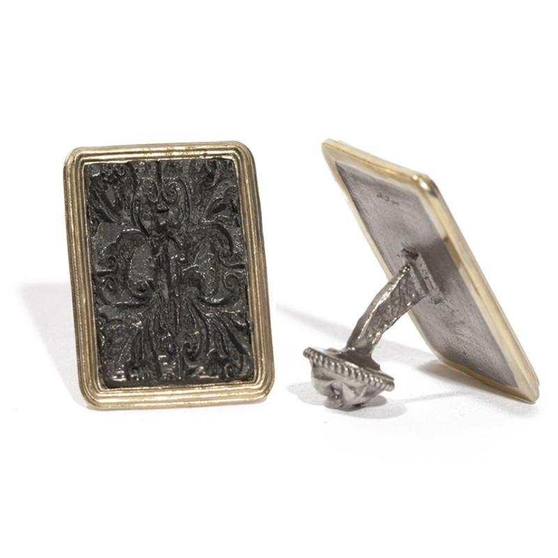 Rectangle Tapestry Yellow Gold Trim Cufflinks,CUFFLINKS,GentRow.com, | GentRow.com