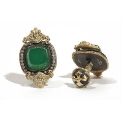 Cushion Cut Green Onyx Diamond Cufflinks,CUFFLINKS,GentRow.com, | GentRow.com
