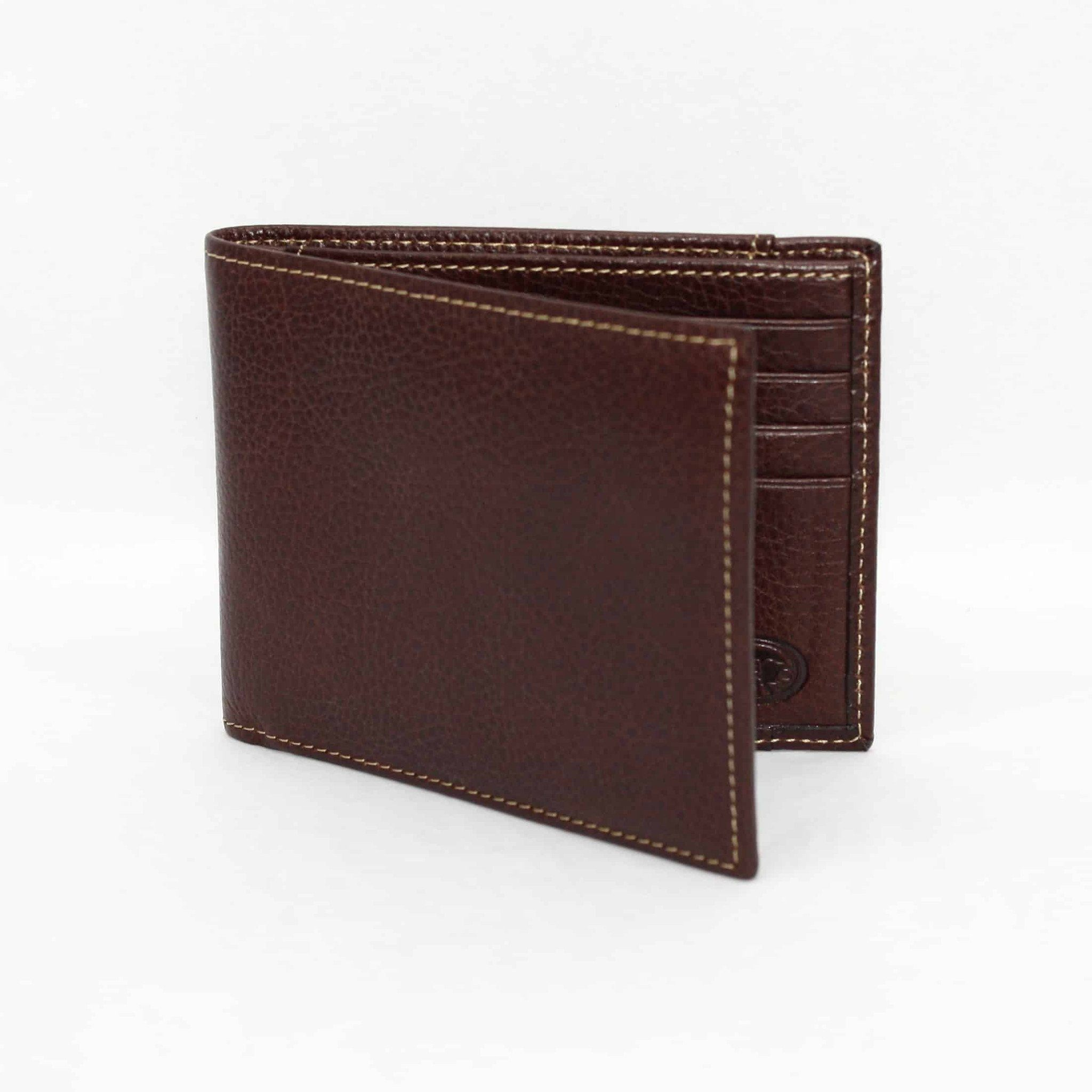 Tumbled Glove Leather Billfold Wallet - Brown,WALLETS,GentRow.com, | GentRow.com