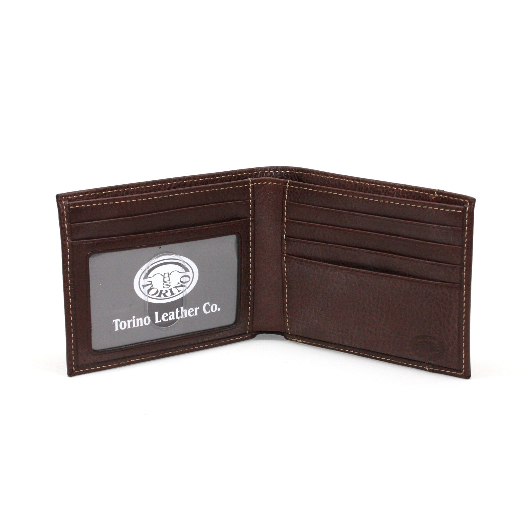 Tumbled Glove Leather Billfold Wallet - Brown