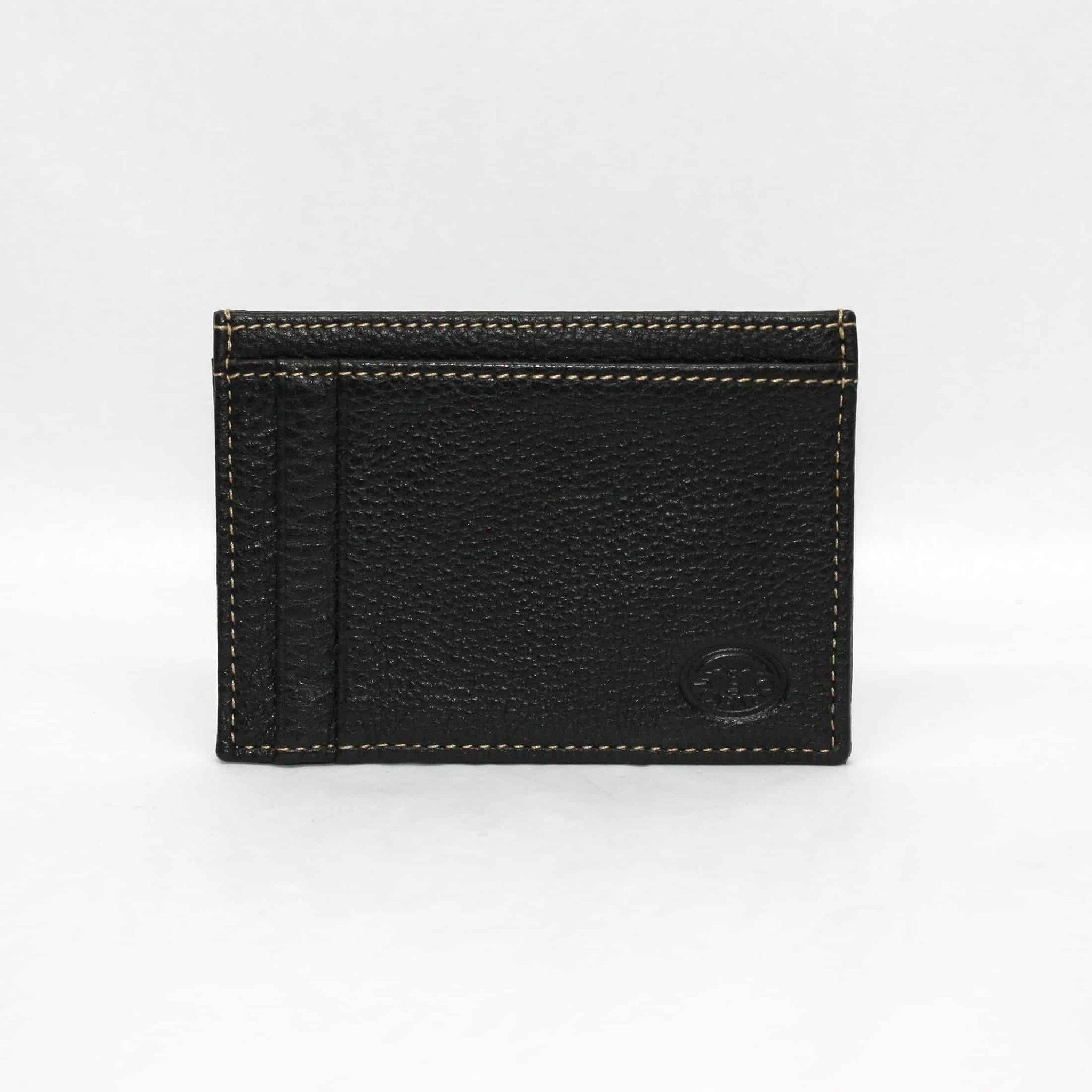 Tumbled Glove Leather ID/Card Case - Black,WALLETS,GentRow.com, | GentRow.com
