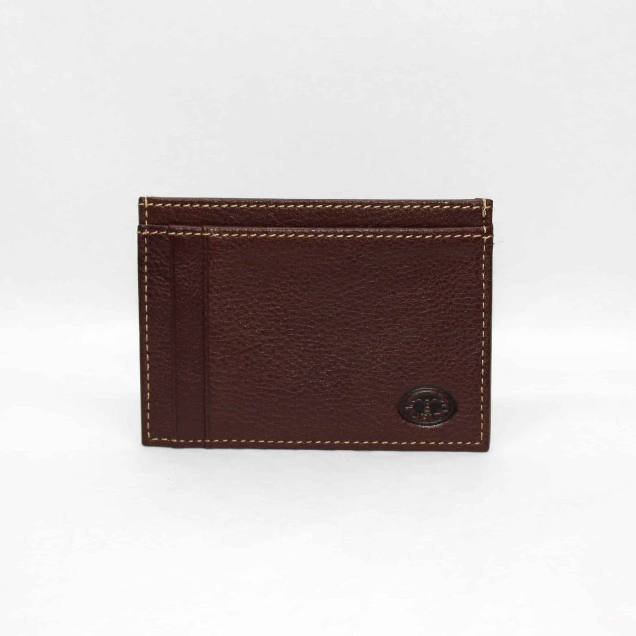Tumbled Glove Leather ID/Card Case - Brown,WALLETS,GentRow.com, | GentRow.com