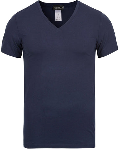 HANRO Cotton Superior V-Neck T-Shirt Midnight Navy
