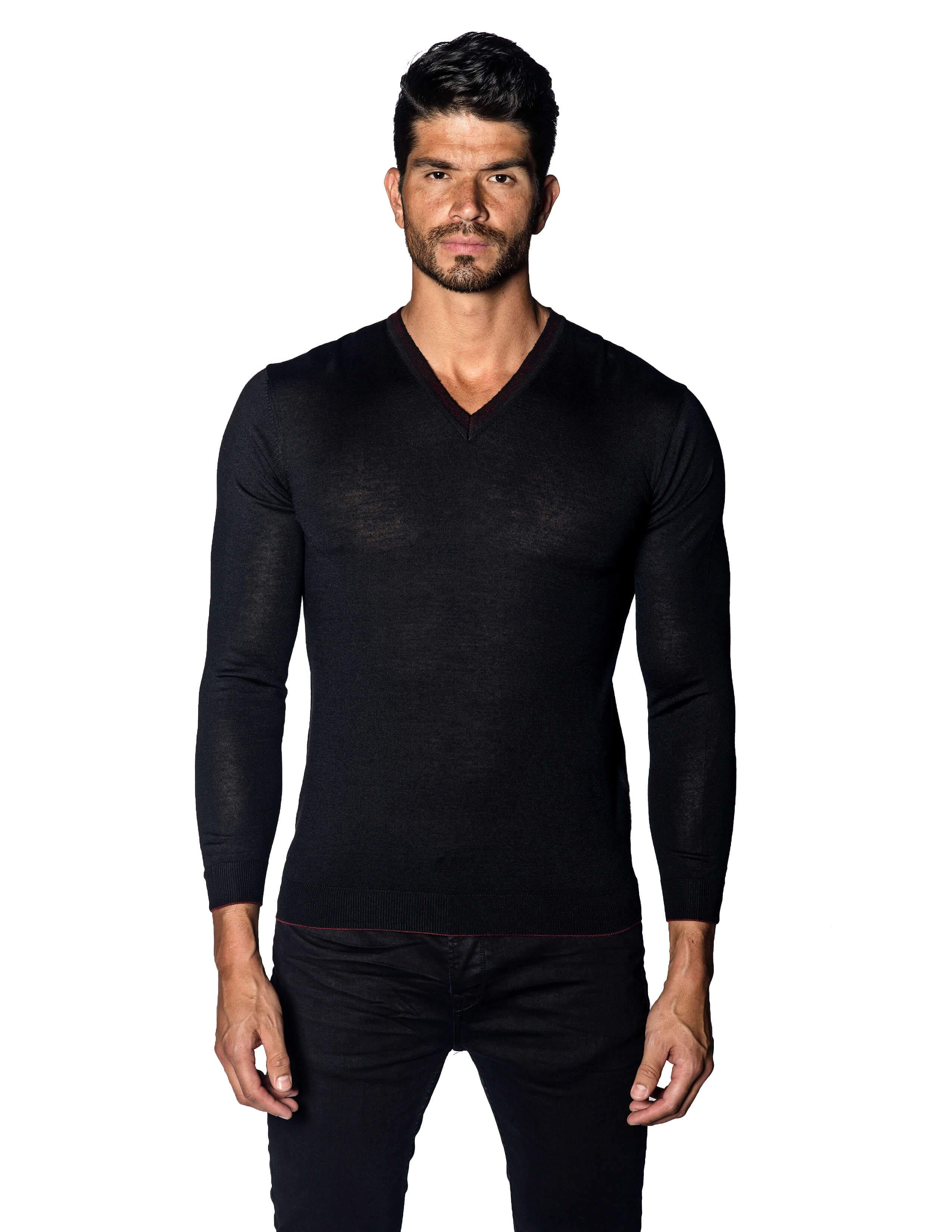 Black Sweater V-Neck with Piping for Men 1895-BK