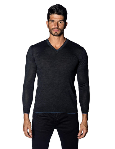 Charcoal Sweater V-Neck with Piping for Men 1895-CH