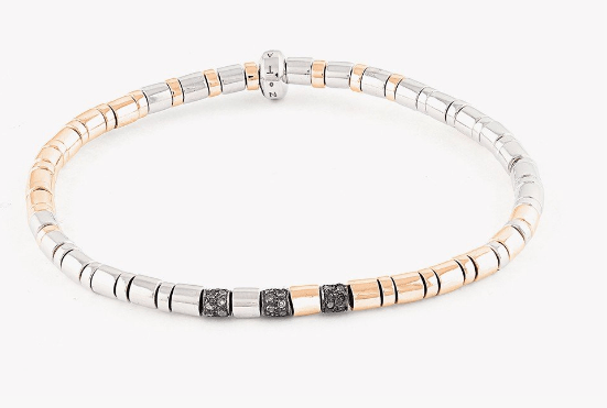 BAMBOO WEAVE SILVER BRACELET WITH BROWN DIAMONDS