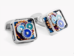 BLUE ENAMEL GEAR CUFFLINKS,CUFFLINKS,TATEOSSIAN, | GentRow.com