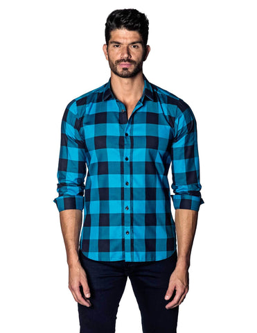 Blue and Navy Plaid Shirt for Men AH-T-5014