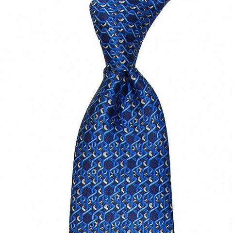 GEOMETRIC ABSTRACT PRINTED SILK TIE 8.5CM