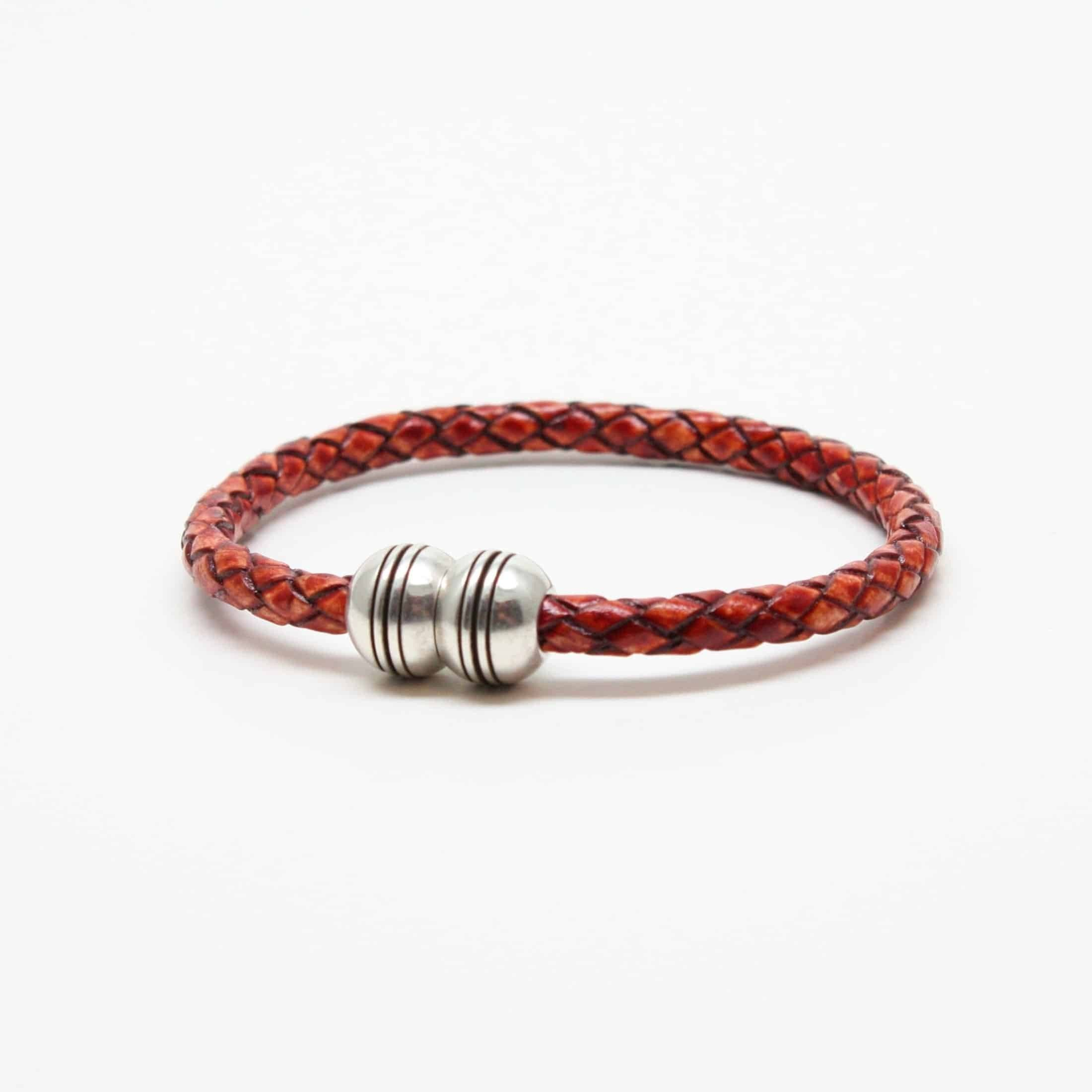 Braided Leather Hemisphere Bracelet - Whiskey,BRACELET,Gent Row, | GentRow.com