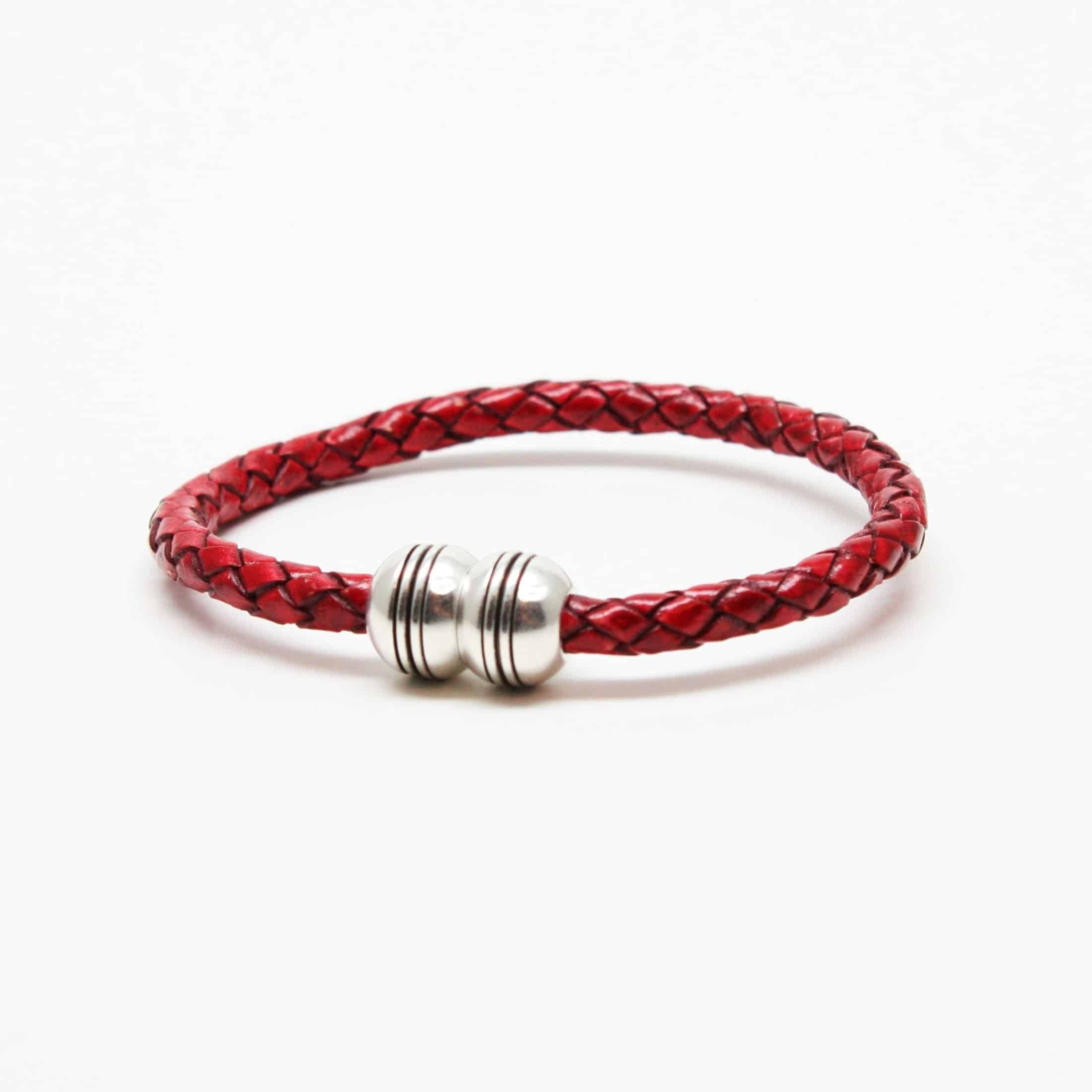 Braided Leather Hemisphere Bracelet - Red,BRACELET,Gent Row, | GentRow.com