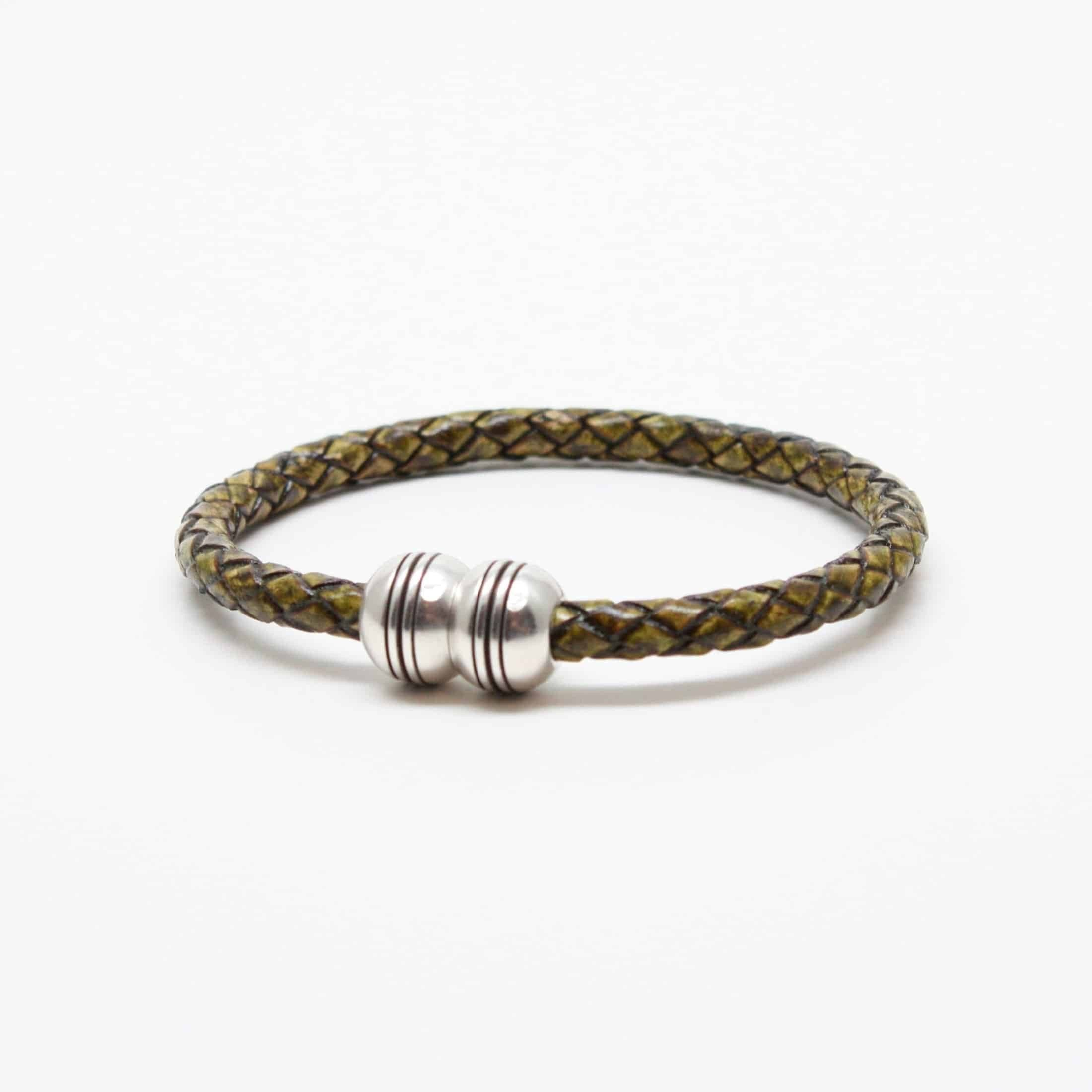 Braided Leather Hemisphere Bracelet - Olive,BRACELET,Gent Row, | GentRow.com