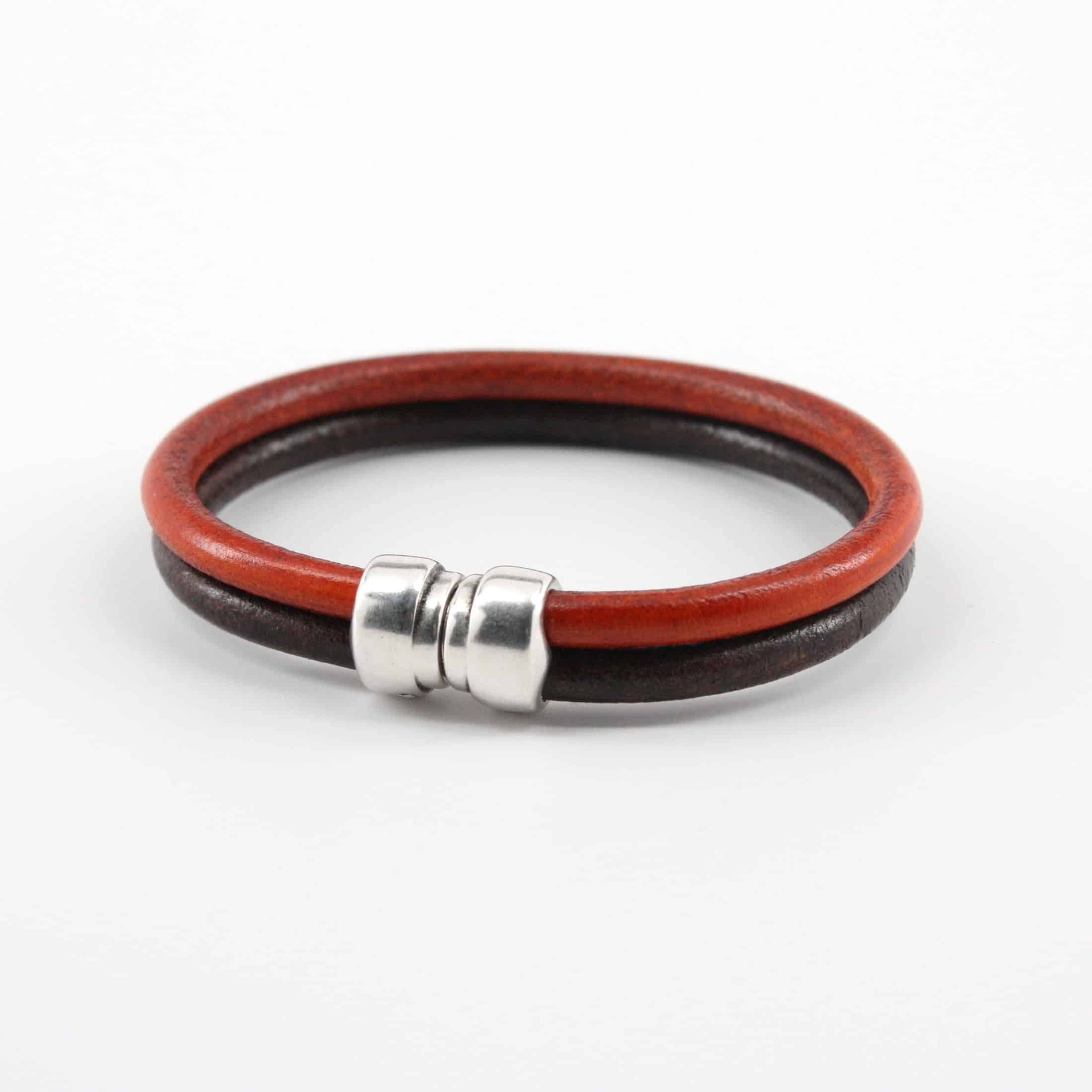 "Genuine Leather ""Art-Deco"" Bracelet - Brown/Orange,BRACELET,Gent Row, 