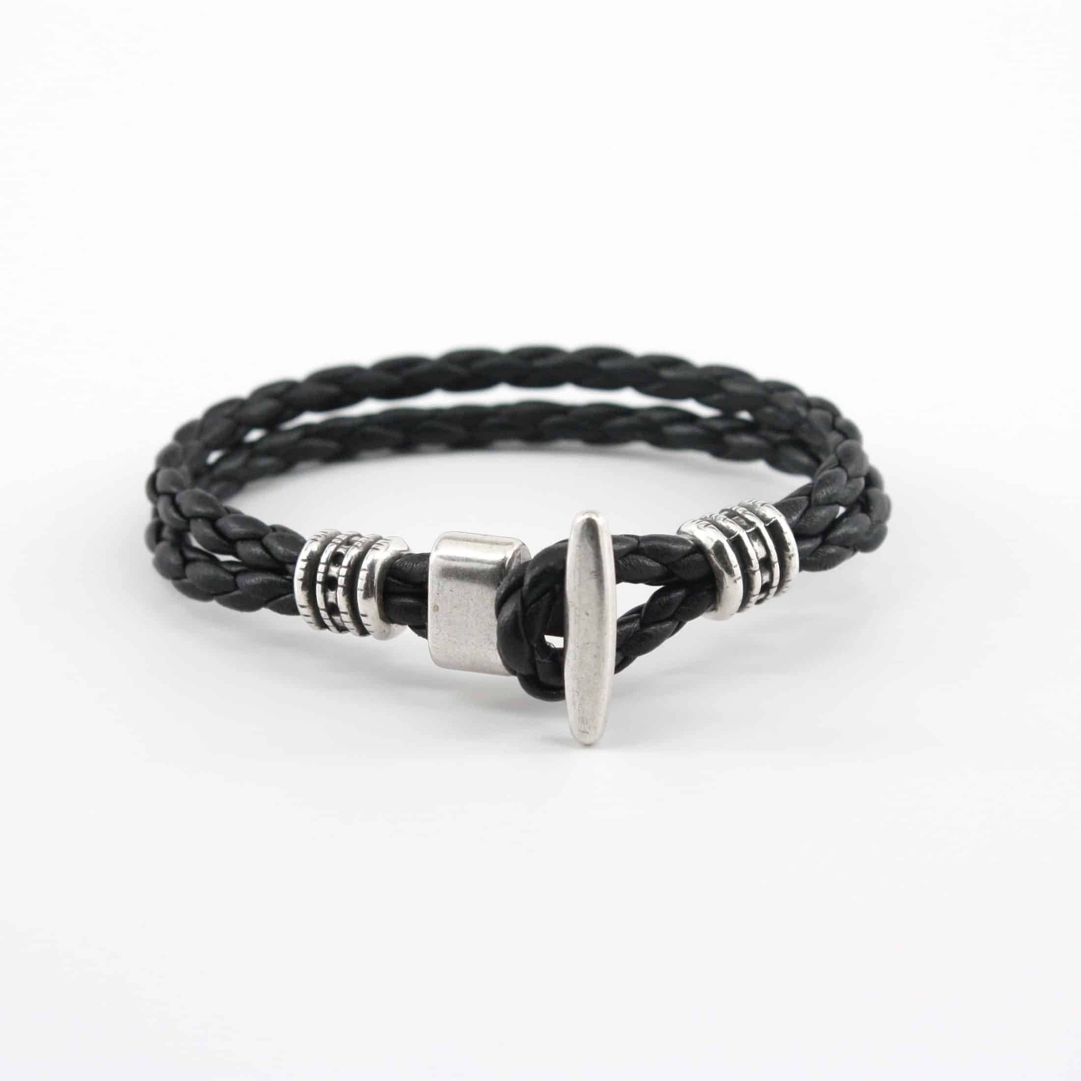 "Braided Leather ""Phoenix"" Bracelet - Black,BRACELET,Gent Row, 