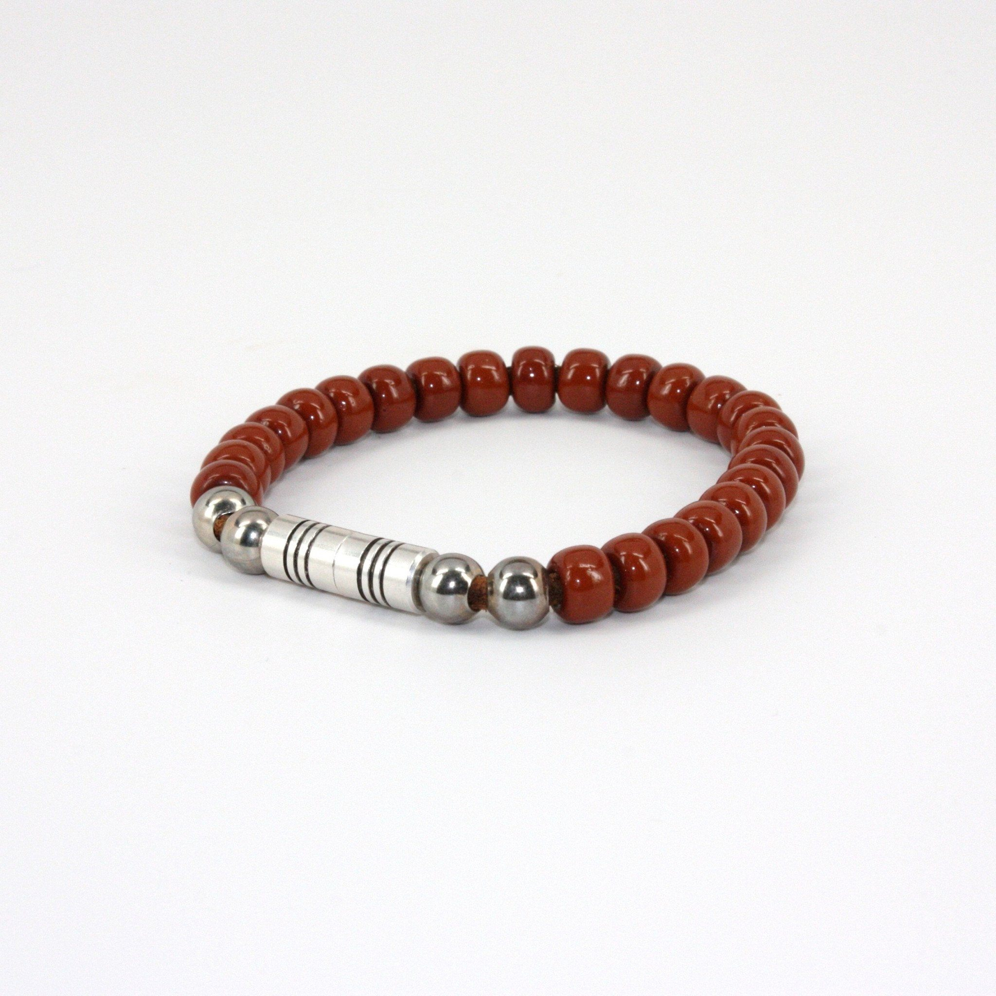 Czech Glass Beads on Leather Bracelet - Med. Brown,BRACELET,Gent Row, | GentRow.com