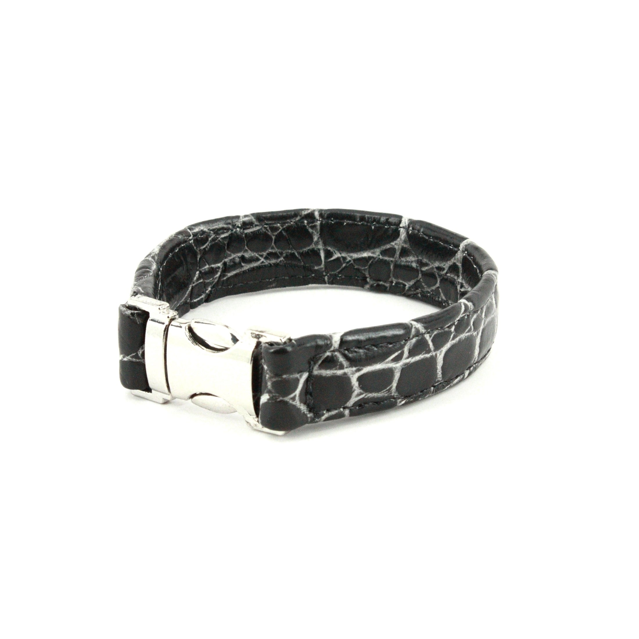 GENUINE NILE CROCODILE CUFF BRACELET - BLACK/CREAM