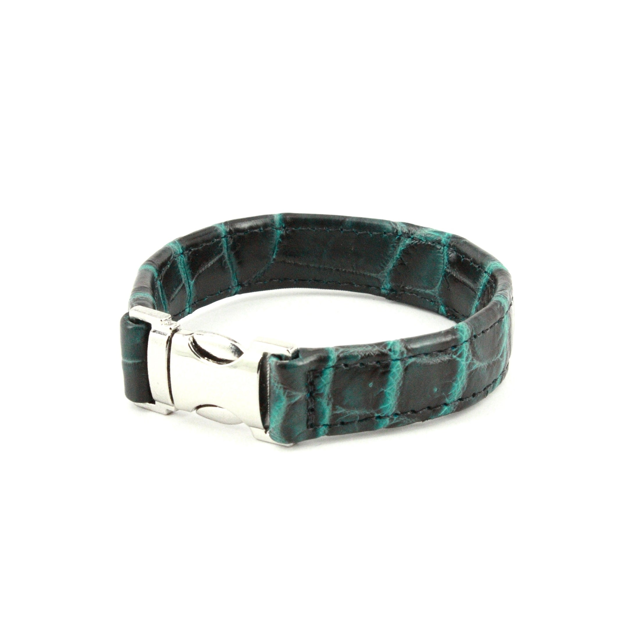 GENUINE NILE CROCODILE CUFF BRACELET - BLACK/TURQUOISE