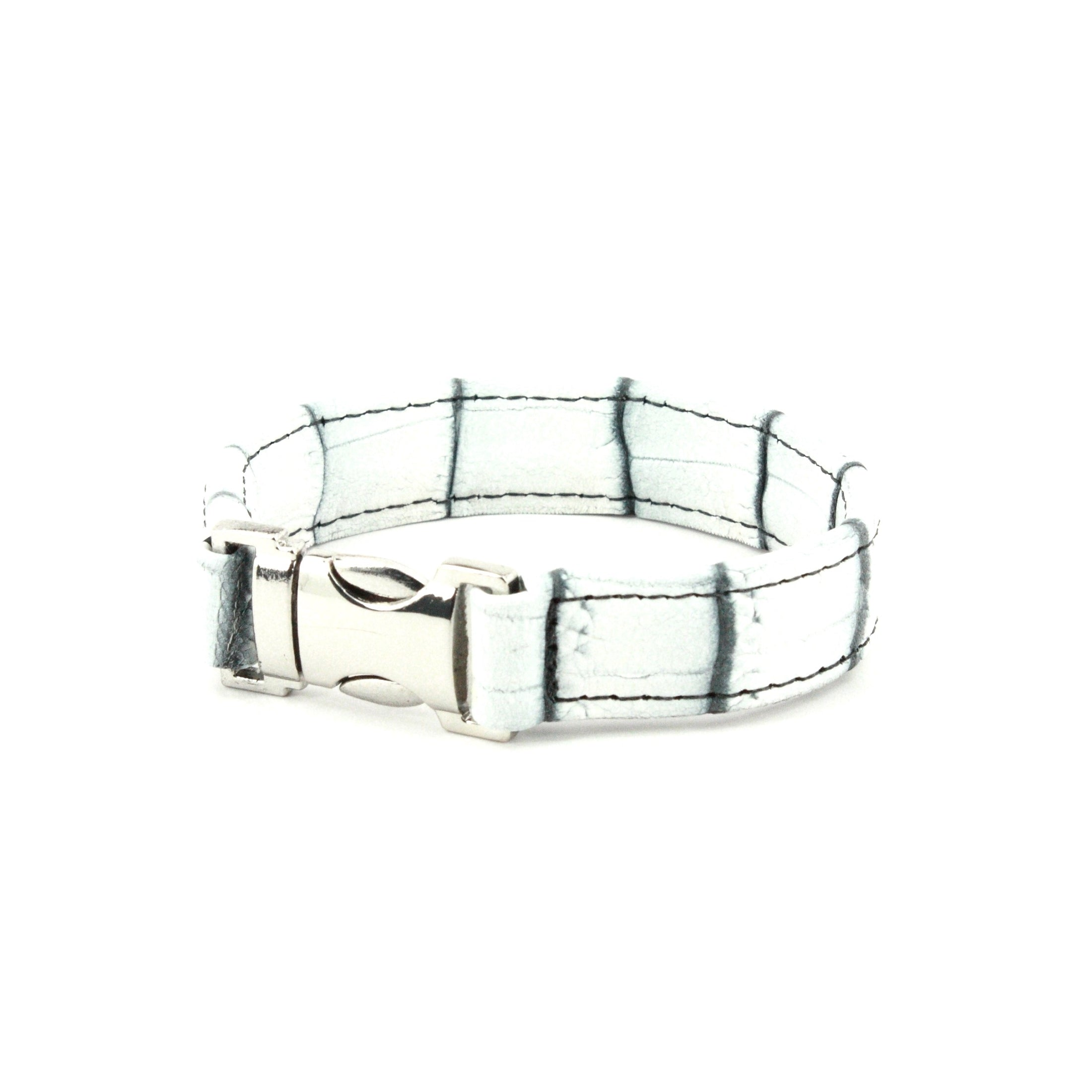 GENUINE NILE CROCODILE CUFF BRACELET - WHITE/BLACK