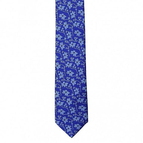 FLOWER DESIGN PRINTED SILK TIE 7CM