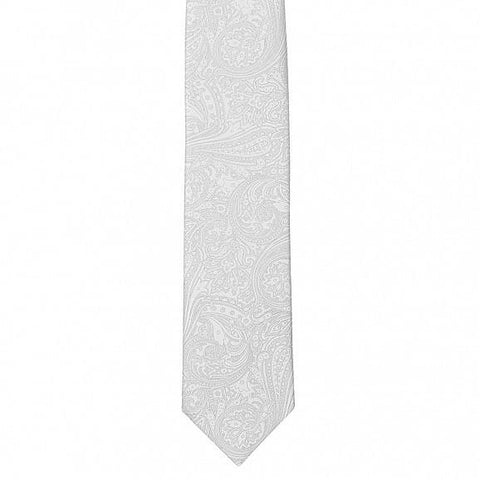 HAND PRINTED DOUBLE SATIN RICH PAISLEY SILK TIE 8CM