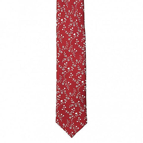 FLOWER & LEAVES TWILL SILK TIE 7CM