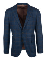 Slate Blue with Brown Window Pane Sport Coat