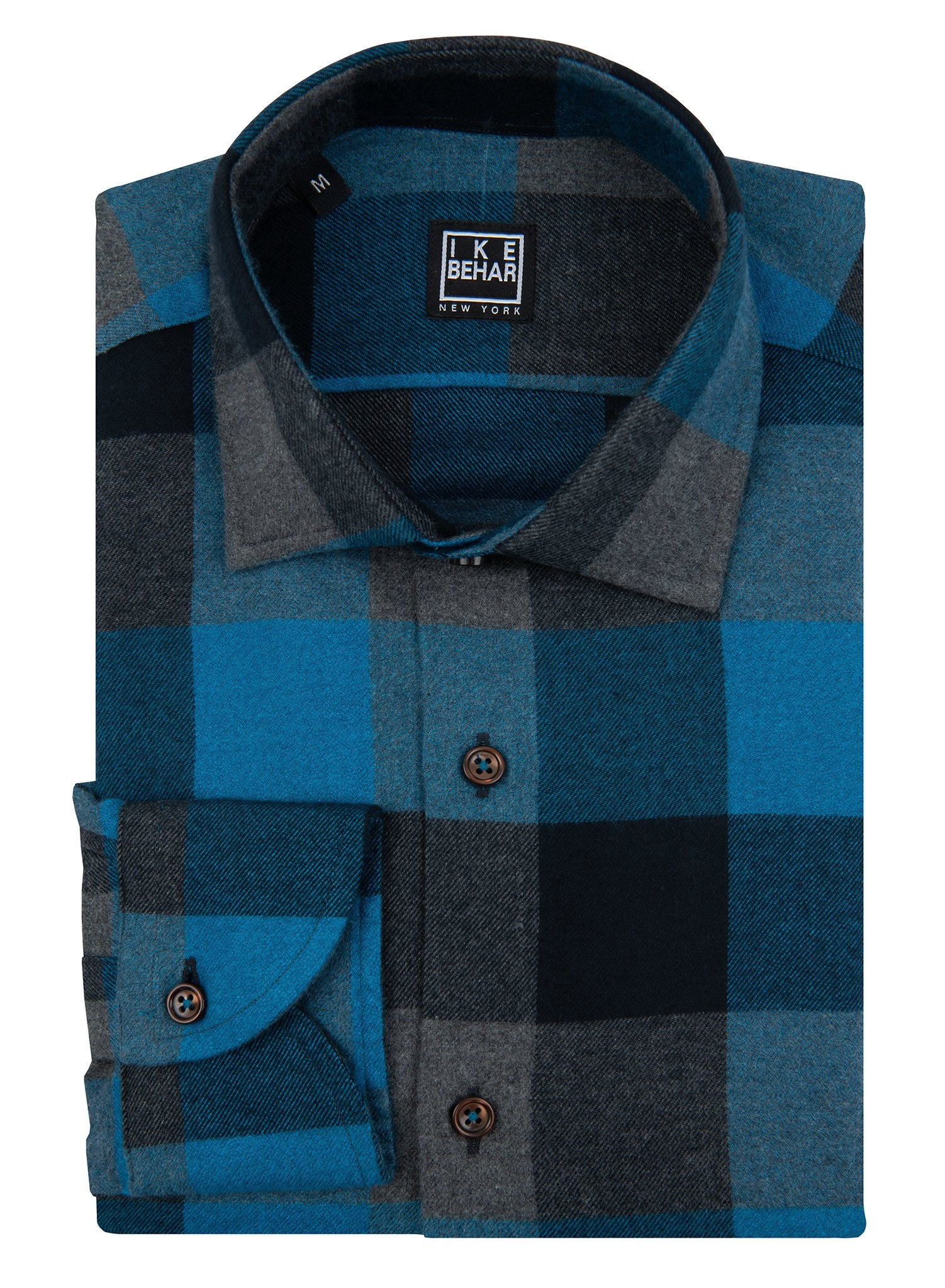 Black and Sea Green Flannel Sport Shirt
