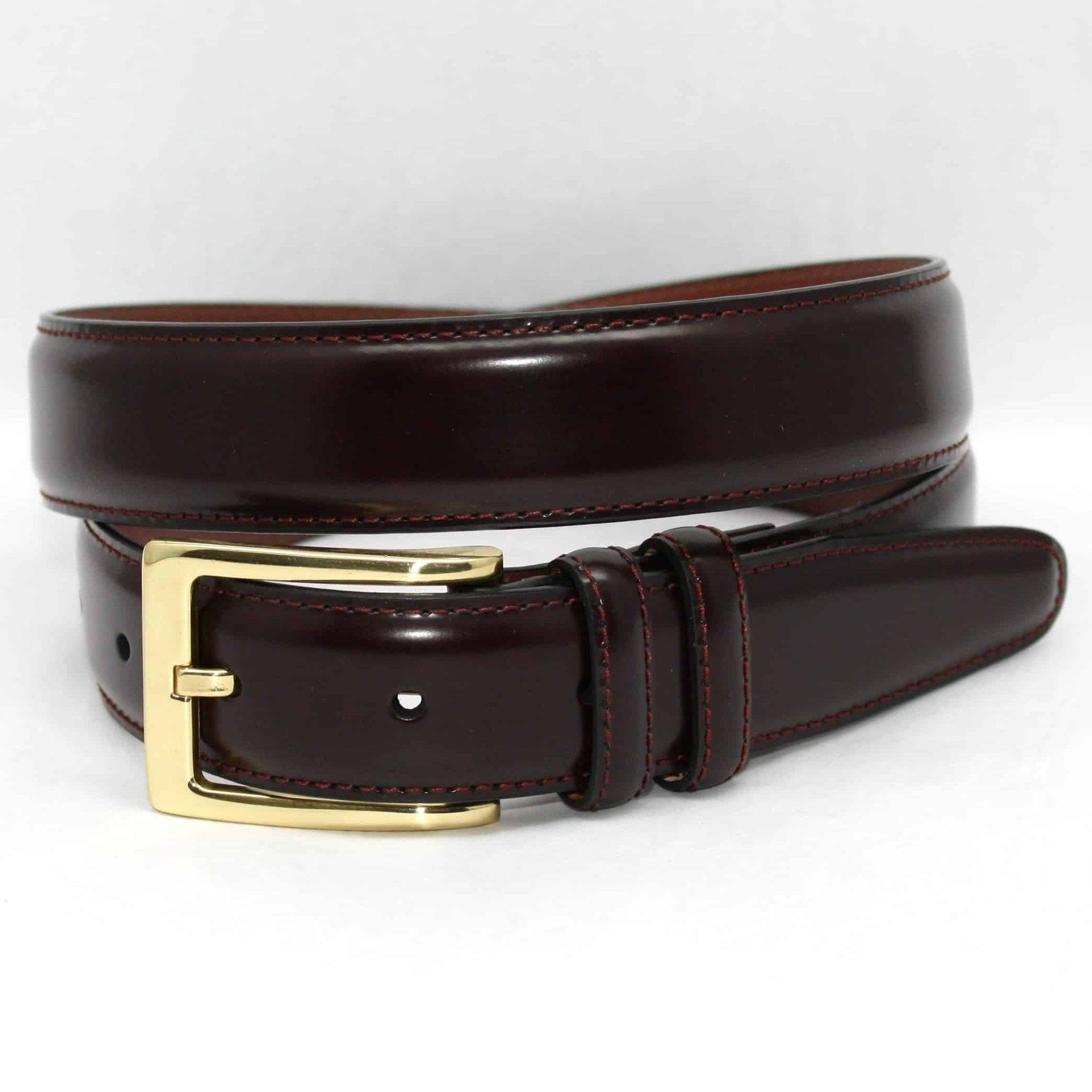 Antigua Leather Belt - Burgundy,BELT,GentRow.com, | GentRow.com
