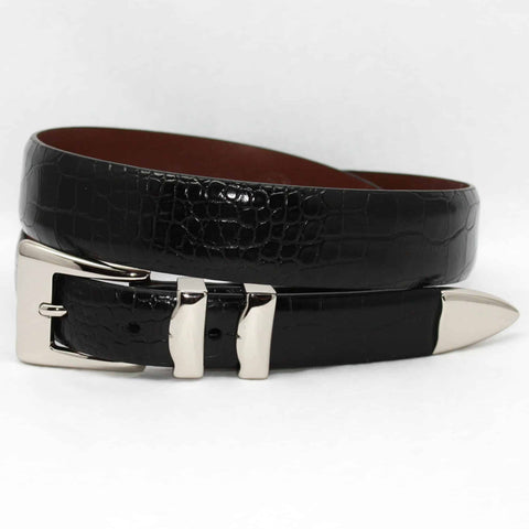 Alligator Embossed Calfskin Belt With 4pc Buckle Set - Black