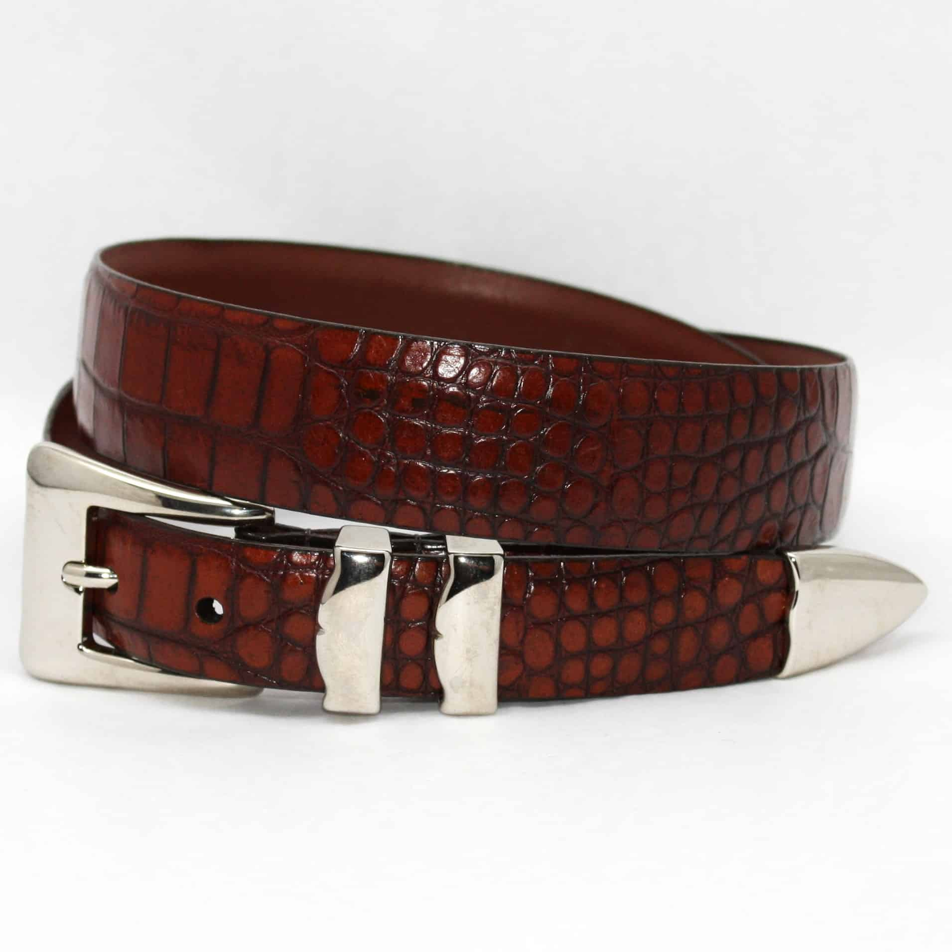 Alligator Embossed Calfskin Belt With 4pc Buckle Set - Cognac,BELT,Gent Row, | GentRow.com
