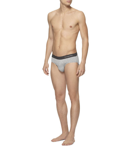 Gray Cotton Mid-Rise Brief