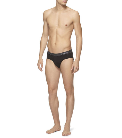 Black Cotton Mid-Rise Brief