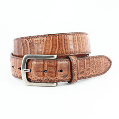 OILED PULL UP SOUTH AMERICAN CAIMAN BELT - BROWN