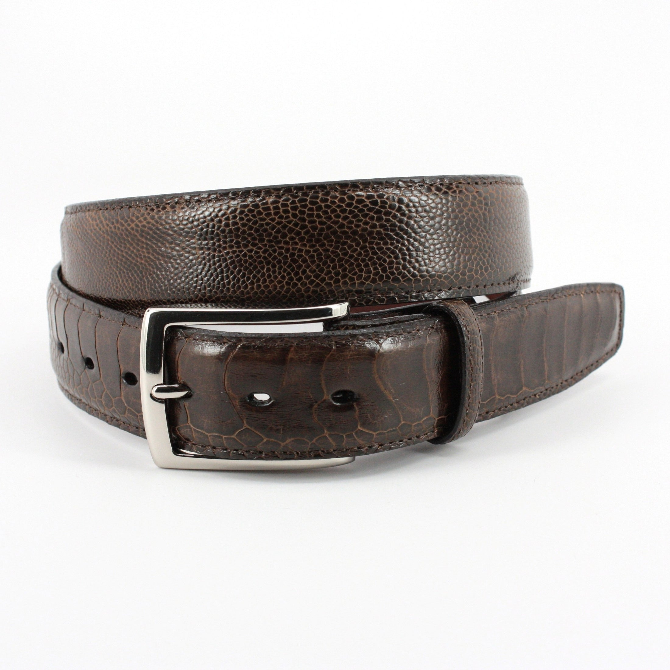 Genuine Ostrich Leg Belt - Brown,BELT,Gent Row, | GentRow.com