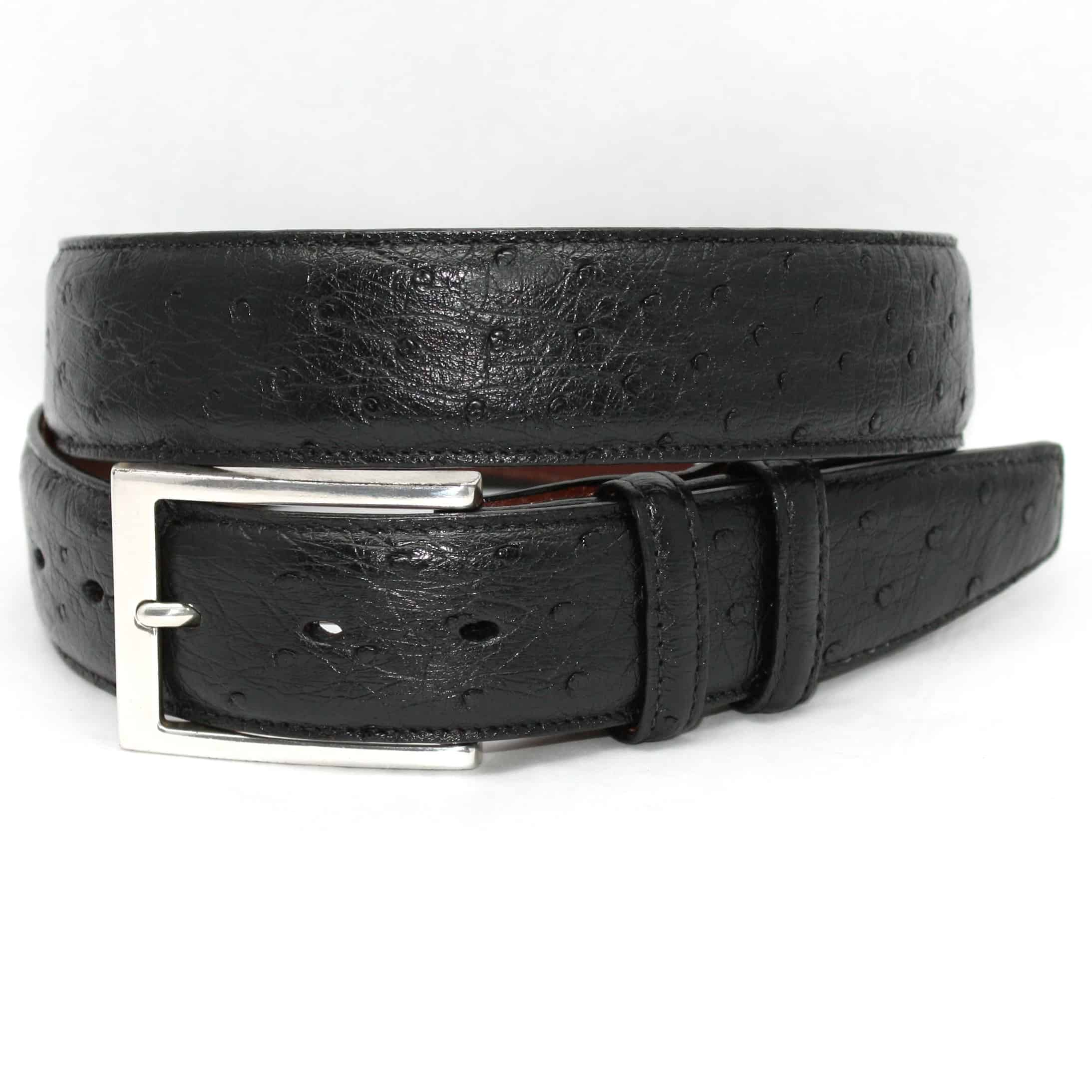 Genuine South African Ostrich Belt - Black,BELT,Gent Row, | GentRow.com