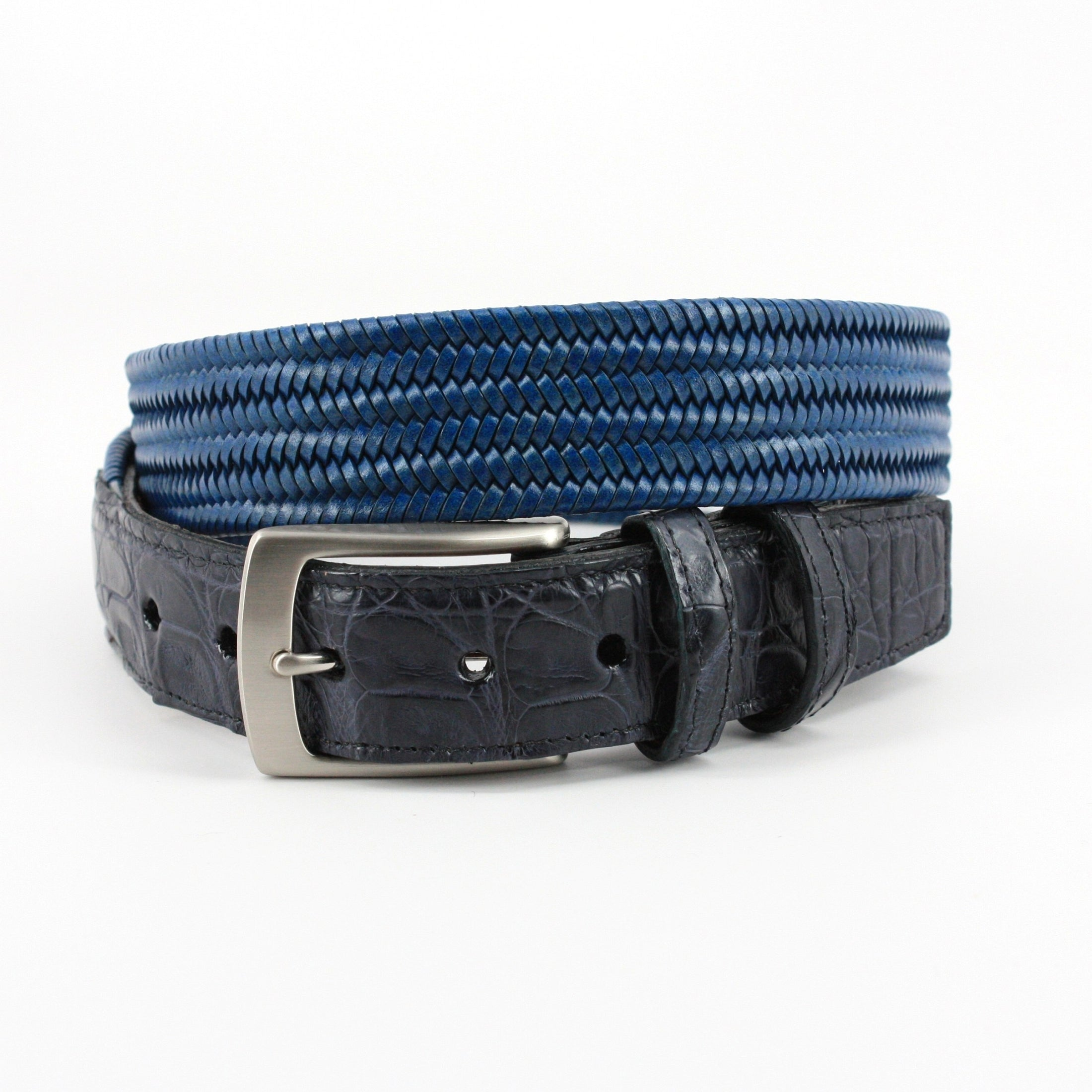 Italian Woven Stretch Leather w/ Genuine Caiman Tabs Belt - Blue,BELT,Gent Row, | GentRow.com