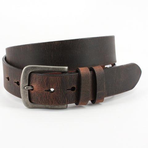 Distressed Waxed Harness Leather Belt - Antique Brown,BELT,Gent Row, | GentRow.com