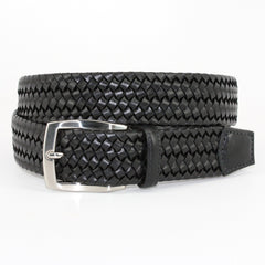 Italian Woven Stretch Leather Belt - Black,BELT,Gent Row, | GentRow.com