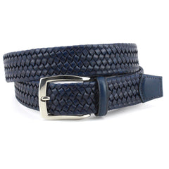 ITALIAN WOVEN STRETCH LEATHER BELT - NAVY