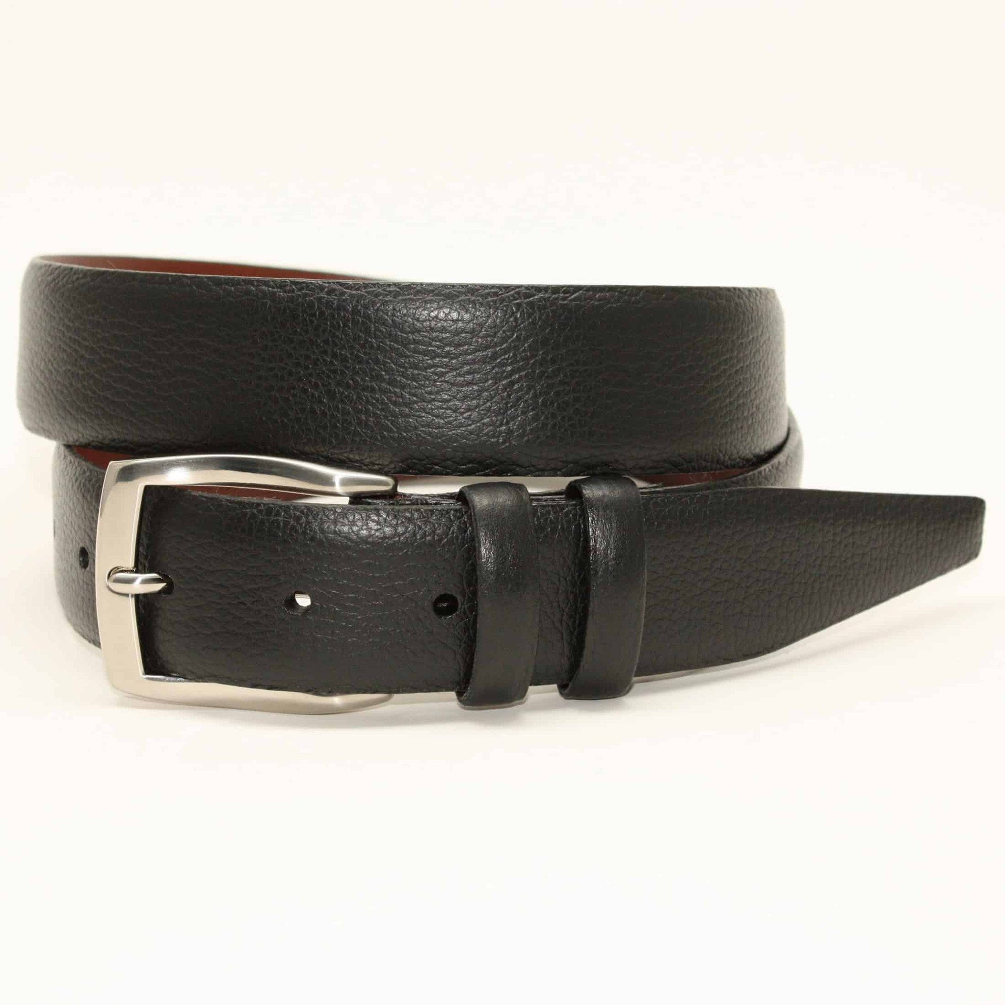 X-LONG Pebble Grained Calfskin Belt - Black,BELT,GentRow.com, | GentRow.com
