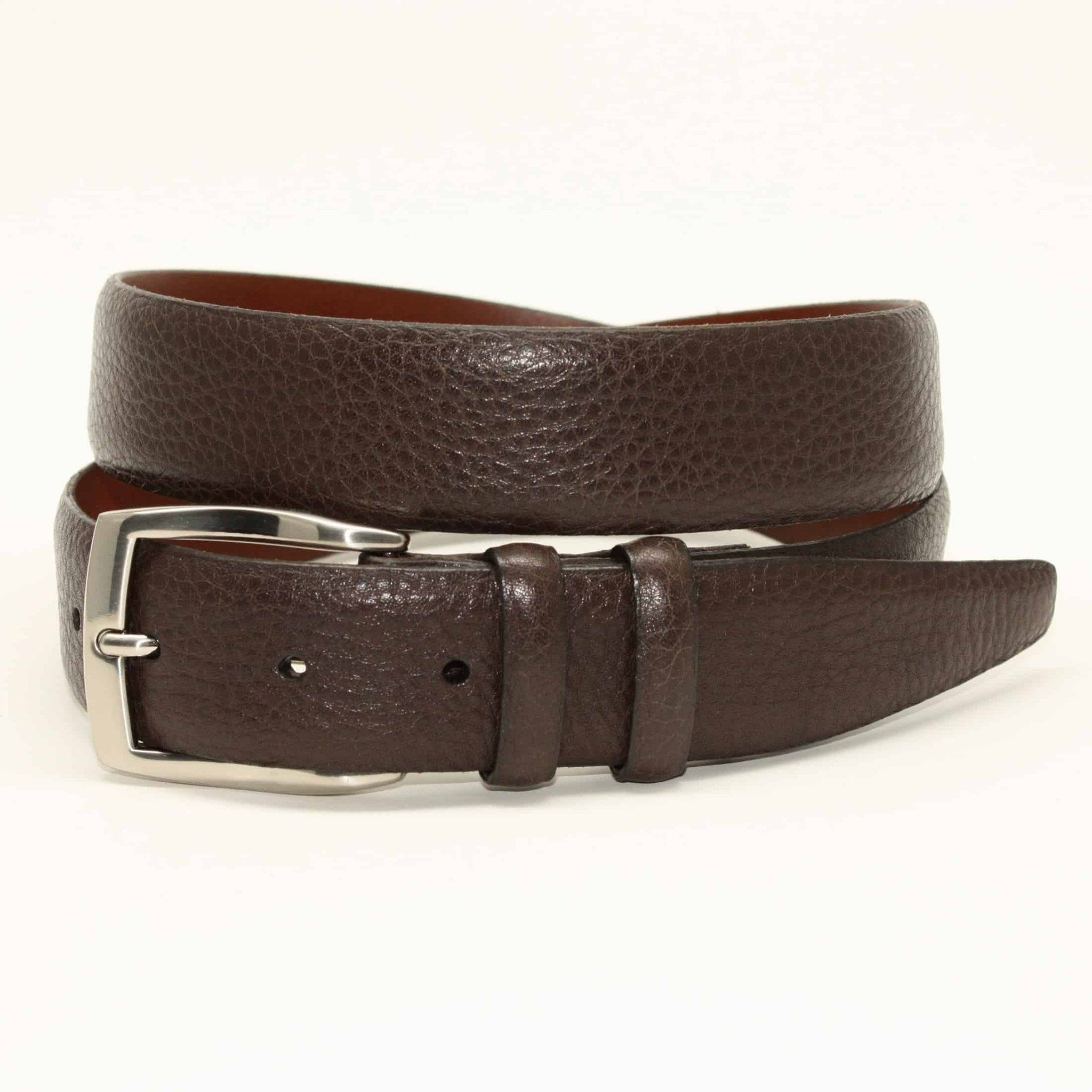 X-LONG Pebble Grained Calfskin Belt - Brown,BELT,GentRow.com, | GentRow.com